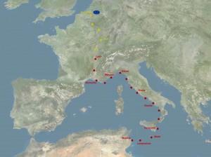 Carte du voyage en Europe